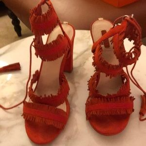 Orange suede fringe heel